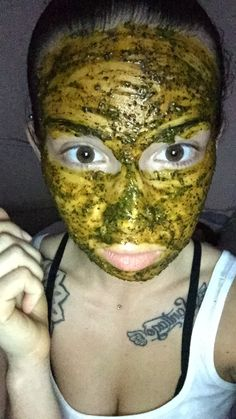 Turmeric, coffee, honey, olive oil, avocado and a little lemon...... I figured I'd try my own homemade face mask, I've tried homemade mask with these ingredients before so hey why not combine its all natural.... I used 1 teaspoon of turmeric, half avocado, a thin slice of lemon, 2 scoops of coffee (which may vary depending on your coffee scooper), honey & olive oil use as desired for thickness, then blend in a ninja or something similar like a bullet for best results. Leave for 20min