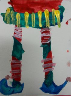 (G2) Elf Feet in Action  While searching for a cute holiday project, I found this adorable idea  in Art Projects for Kids   Students drew vertical lines for the feet first and then, using the shape V, they drew the shoes in small steps.  The clothes completed the holiday composition.