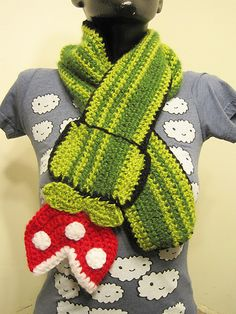 I think I need to make one of these. Super Mario Piranha Plant Scarf by Mindy Y.