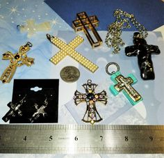 MM-123; A Gorgeous Assortment (7+) of Crosses in a Variety of Materials and Sizes- Pearls, Faceted Glass, Rhinestones, Stone,  Metal The Last Picture Show, Calling Cards, Upcycled Crafts, Faceted Glass, Little Christmas, Mixed Metals, Craft Items, Crosses, Pearl White
