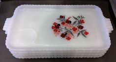 Fire King Primrose Milk Glass Red Flowers Snack Plates Set of 4 1960-62