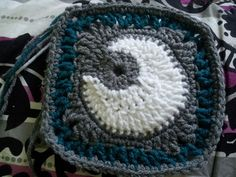 Moon Square, this would go well with a sun square and a star square for a celestial themed baby blanket