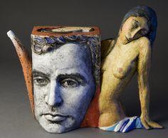 blue - Teapot  Modigliani - ceramic - Noi Volkov