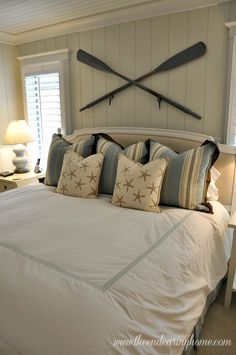 24 Awesome Nautical Home Decoration Ideas Cottage Nautical bedroom, Nautical home, Rustic Lake house my bedroom view I need a balcony in . Beach Cottage Style, Coastal Cottage, Beach House Decor, Coastal Decor, Nautical Bedroom Decor, River House Decor, Oar Decor, Nautical Interior, Nautical Decor Ideas