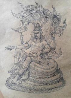 Thailand Tattoo, Thailand Art, Krishna Painting, Krishna Art, Drawing Sketches, Drawings, Thai Art, Epic Art, Hindu Art