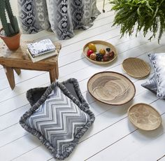 Mix pattern and texture for a bohohemian style with our Arizona fabics Prestigious Textiles, Pattern Mixing, Modern Prints, Textile Design, Upholstery, Throw Pillows, Texture, Stylish, Wallpaper