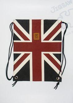 20% off [orig. 17.99] Union Jack backpack Canvas Bag hip drawstring Handbag Handmade bag