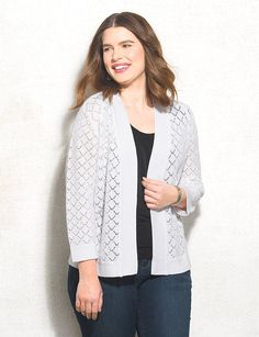 JONES STUDIO® Plus Size Pointelle Open Cardigan