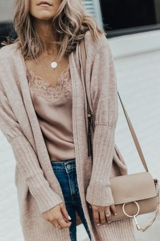 Fall Outfit: Cozy Cardi, Sweet & Spark Pink Silk Lace Cami and Distressed Denim | Cella Jane #casualfalloutfits