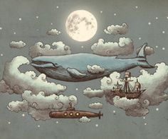 Ocean Meets Sky Art Print by Terry Fan (could be a really cool mural in a kids' room) Art And Illustration, Book Illustrations, Creative Illustration, Ciel Art, Terry Fan, Sky Art, Modern Artwork, Eclectic Artwork, Contemporary Art