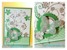 Springtime greetings cards in green with butterflies and flowers made with stampinup  http://m.aigenmade.com/ostern/osterkarten/
