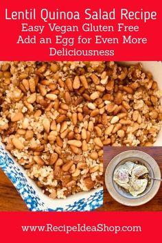 Easy Lentil Quinoa Salad Recipe with green lentils. Try an egg on top! #lentilquinoasalad #lentils #quinoarecipes #recipeideashop.com