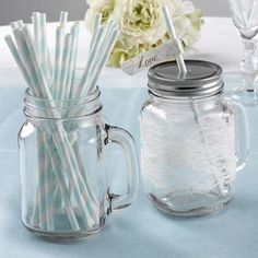 Soft Blue & White Stripe Paper Straws x 25 2nd Birthday Gifts, Bleu Pale, Recycled Plastic Bags, Rose Quartz Serenity, Giant Balloons, Candy Stripes, Baby Shower, Paper Straws, Plastic Bottles