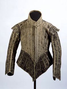 Doublet 1620-1625 England. Materials and Techniques: Leather, silk taffeta, linen and whalebone, handsewn and embroidered with linen and silk threads.