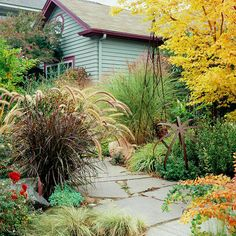 Change with the Seasons - Add excitement to your yard by adjusting the color scheme from season to season. It's easy with a little planning -- just pay attention to your plants' flowering times. For example, grow pink-, purple-, or blue-blooming bulbs and perennials in the spring; summery red and pink blossoms in the hot months; then mums with trees and shrubs in golden, orange, or red tones in autumn
