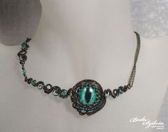 EVIL EYE NECKLACE  ooak wire wrapped necklace by bodaszilvia