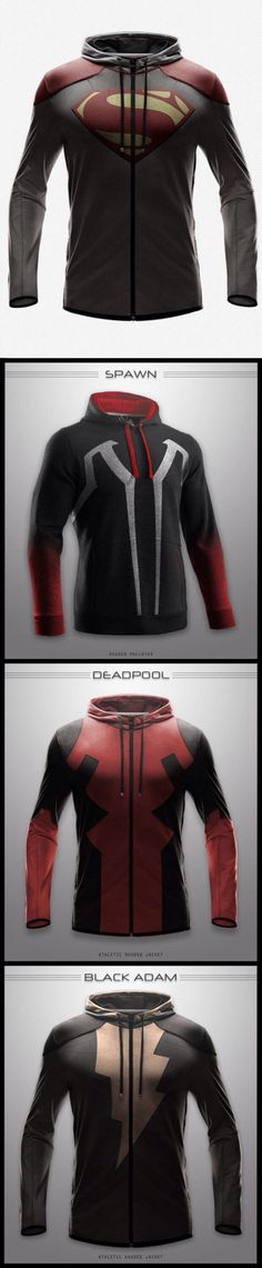 Best nerd hoodies ever!- Deadpool is the hubby's favorite. too bad these hoodies are real!