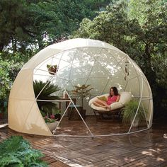 """I want me one of these!  """"The Garden Igloo is the revolutionary new personal space that can fit into any lifestyle. Stick it on your city rooftop to create a meditation space, update your garden's greenhouse, or simply enhance your yard with this miniature room crafted from recyclable materials"""""""
