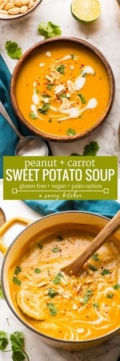 Thick, velvety, healthy and warming - just a few ways to describe thisPeanut Carrot & Sweet Potato Soup!   Gluten Free + Vegan + Grain Free + Paleo Option