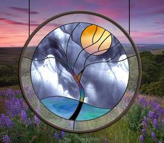 Stained Glass Window Rain Tree Yellow Moon by stainedglassfusion, $199.00