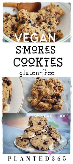Vegan Smores Chococlate Chip Cookies Gluten Free from Easy Simple Delicious veganrecipe veganhygge veganglutenfree vegancookies PIN IT 124552745932262191 Vegan Dessert Recipes, Vegan Sweets, Dairy Free Recipes, Healthy Desserts, Cookie Recipes, Vegan Cookie Recipe, Vegan Food, Strawberry Desserts, Food Food