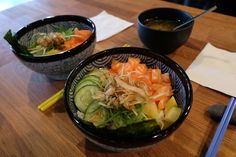 Salmon bowl with miso soup
