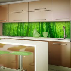 Green Forest Printed Acrylic Picture Splashback