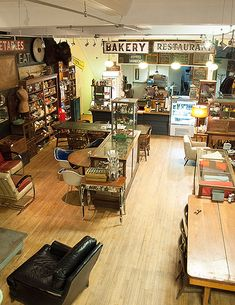 """Upstate New York - Outdated, a large space located on Wall Street in Kingston's historic Stockade District, has been dubbed an """"antique cafe"""" by its founders"""