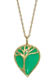 18K Yellow Gold Tree of Life Pendant Necklace