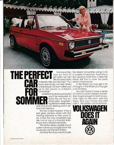 """An original 1980 advertisement for the Volkswagen Rabbit. Featured in red along side with Elke Sommer. """"The perfect car for Sommer"""" -A vintage 1980 Volkswagen R Cabrio Volkswagen, Vw Golf Cabrio, Vw Mk1, Volkswagen Golf, Mini Cooper S, New Sports Cars, Sport Cars, Golf 1 Cabriolet, Kdf Wagen"""
