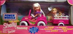 Barbie - Kelly & Tommy Power Wheels Jeep & Wagon Motorized Playset (1997 Mattel, Fisher Price) by Mattel, Fisher Price