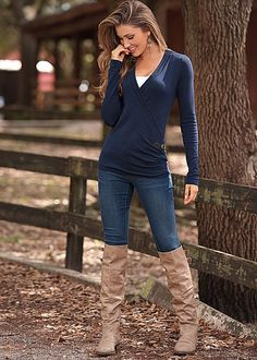 SIDE BUCKLE V-NECK SWEATER, SEAMLESS CAMI, COLOR SKINNY JEAN, BUCKLE KNEE HIGH BOOT