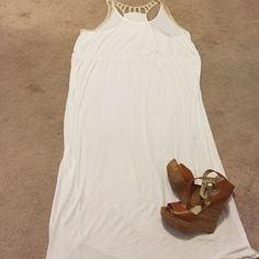 Fantastic summer maxi Fantastic summer maxi. Cream/off white with tan lace racer back. Would look stunning paired with a jean jacket and some chunky jewelry. Has a slit on both sides starting around you knee for easy movement. Ava & Viv Dresses Maxi