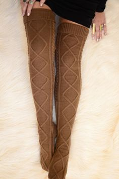 Thigh High Cable Knit Socks- Mocha