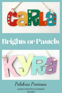 Choose from bright primary colors or cute soft pastel shades for your nursery name decor.  Hand painted and customized just for you #babyroomdecor #babygirlnursery #newborn #newbaby #palabraspreciosas #1stchristmas #toddler #littlegirlroom