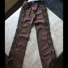 Gorgeous brown RioRoxx embellished imported pants Gorgeous brown RioRoxx embellished imported pants, 10 Rio roxx Pants