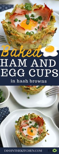 Wake up to a sunny breakfast with these fun Ham and Egg Cups. Baked in Hash Brown nests with Parmesan cheese and bright pesto, they are the perfect start your day. #hamandeggcups #breakfast #hashbrowns #hashbrownnests #eggs