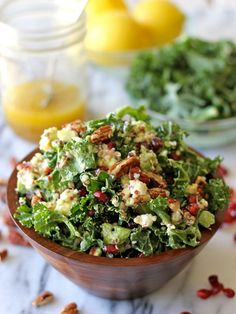 Kale Salad with Meyer Lemon Vinaigrette and Quinoa