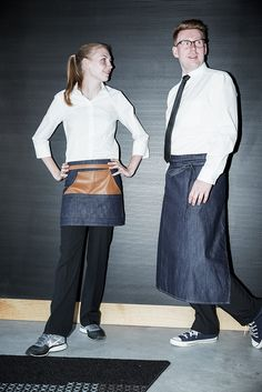Bistro apron - blue denim with imitation leather details 9b9e26f631