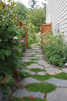 Garden Flagstone Pathway - for the backyard Flagstone Pathway, Rock Pathway, Pathway Ideas, Walkways, Side Yard Landscaping, Landscaping With Rocks, Landscaping Ideas, Backyard Patio, Garden Paths