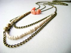Bohemian layering neclace Ivory Coral Set by DivinaLocura