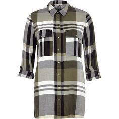 5255fb3d3db74 River Island Khaki checked longline shirt ($56) ❤ liked on Polyvore  featuring tops,
