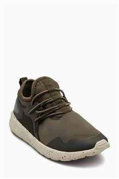 Neutral Elastic Lace Fashion Trainers (Older)
