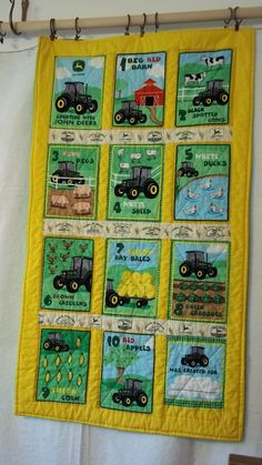 John Deere Counting Baby Quilt on Etsy, $25.00