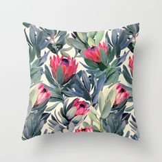 Painted Protea Pattern Throw Pillow - South Africa's national flower in all its glory!