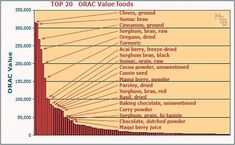 List and Charts of Top 100 Antioxidant ORAC Value Foods. These were originally sourced from USDA's Nutrient Data Laboratory (NDL). High Antioxidant Foods, Anti Oxidant Foods, Survival Blog, Acai Berry, Alkaline Foods, Organic Vegetables, Health And Nutrition, Health Foods, Natural Medicine