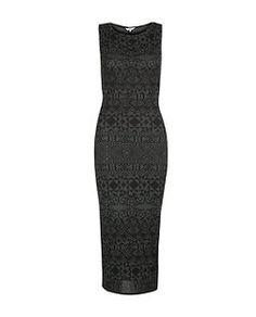 Black Pattern (Black) Grey Aztec Sleeveless Midi Dress  | 291287609 | New Look