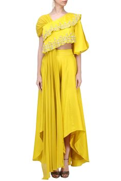 Urbane presents Buttercup yellow embellished drape top with palazzo pants set available only at Pernia's Pop Up Shop. Indian Gowns, Indian Attire, Indian Outfits, Pakistani Gowns, Indian Wear, Draped Dress, Silk Dress, Heavy Dresses, Couture Outfits