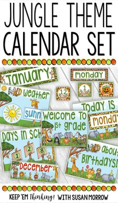 This colorful Jungle Theme Calendar Set is a perfect addition to your Jungle or Safari Theme Classroom. Take your calendar board to new heights with all the little extras included in this set: Rainforest Classroom, Jungle Theme Classroom, Classroom Setup, Preschool Classroom, Classroom Organization, Classroom Management, Kindergarten, Toddler Classroom, Behavior Management