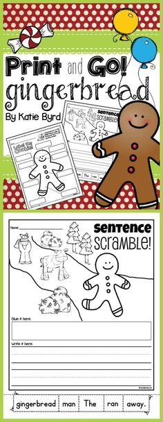 Print and Go! Gingerbread - Math and Literacy Activities NO PREP - Holidays Events Gingerbread Man Kindergarten, Gingerbread Man Activities, Kindergarten Reading, Literacy Activities, Christmas Activities, Gingerbread Men, Thing 1, Time Saving, School Holidays